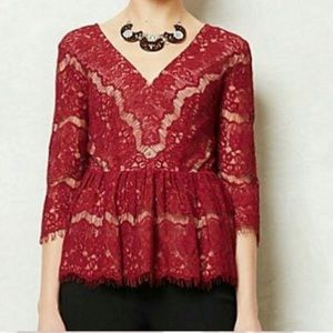 Anthropologie Red Maroon Lace Peplum Blouse